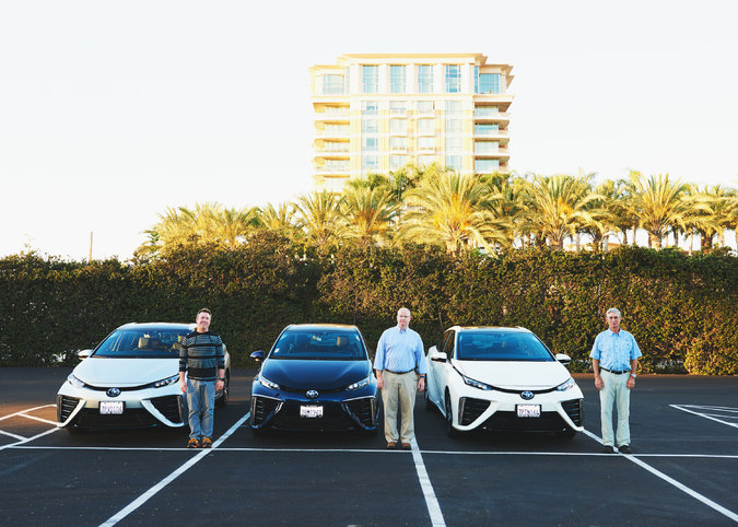 Stephen Manning, left, and other hydrogen-powered car owners at the hydrogen fuel cell station in Irvine, Calif. Credit Jake Michaels for The New York Times